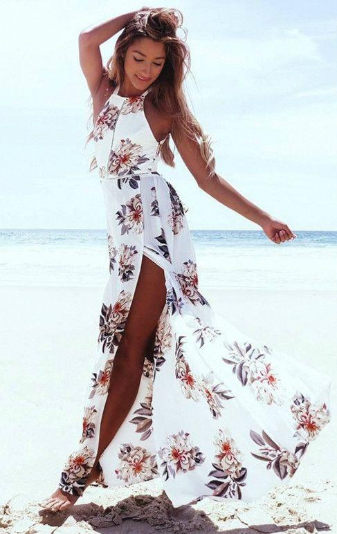 a494d07d9d6 Elegant Halter Neck Floral Print Maxi Dress. Elegant Halter Neck Floral  Print Maxi Dress Petite Maxi Dresses ...