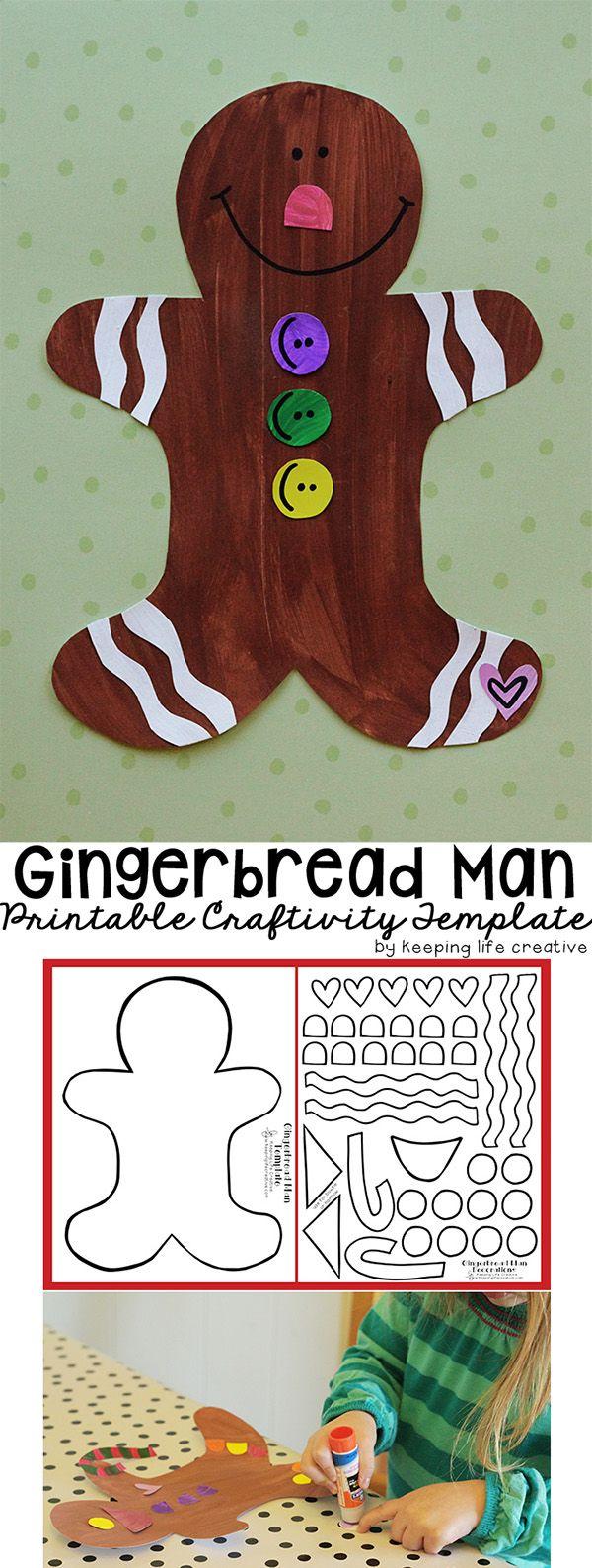 Printable Gingerbread Man Craft Preschool christmas, Man