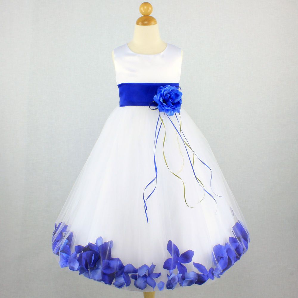 ROYAL BLUE Flower Girl Dress Petals Pageant Party Gown Toddler ...
