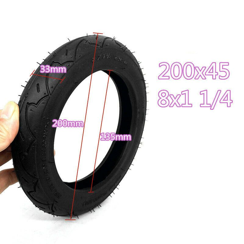 8x1 1//4 Tire 200*45 Pneumatic Wheel Outer//Inner Inflatable Tools Scooters