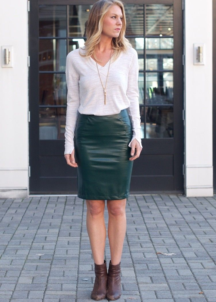 Green Leather Pencil Skirt - Dress Ala