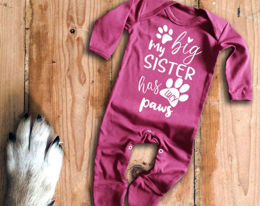 Custom name My big sister has paws white long sleeve baby grow rompersuit