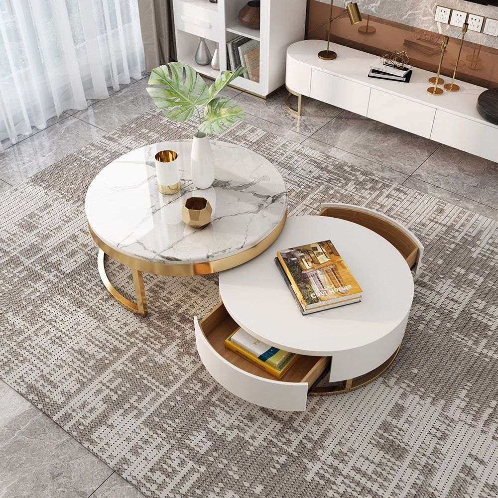 Modern Round Coffee Table With Storage Lift Top Wood Coffee Table With Rotatable Drawers In White Natural White Black Marble White In 2020 Marble Coffee Table Living Room Round Coffee Table Modern Living Room Coffee