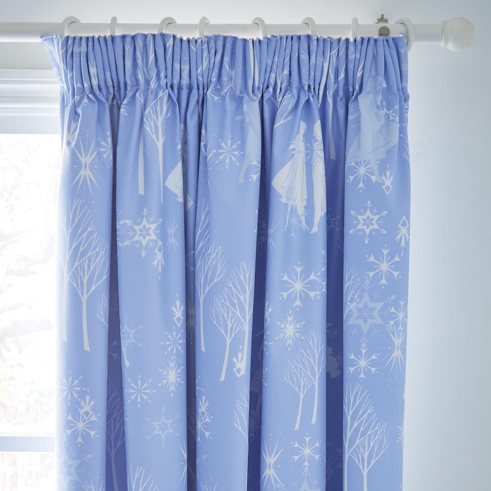 Disney Frozen 2 Blue 168x183cm Blackout Pencil Pleat Curtains In 2020 Pleated Curtains Pencil Pleat Disney Home Decor