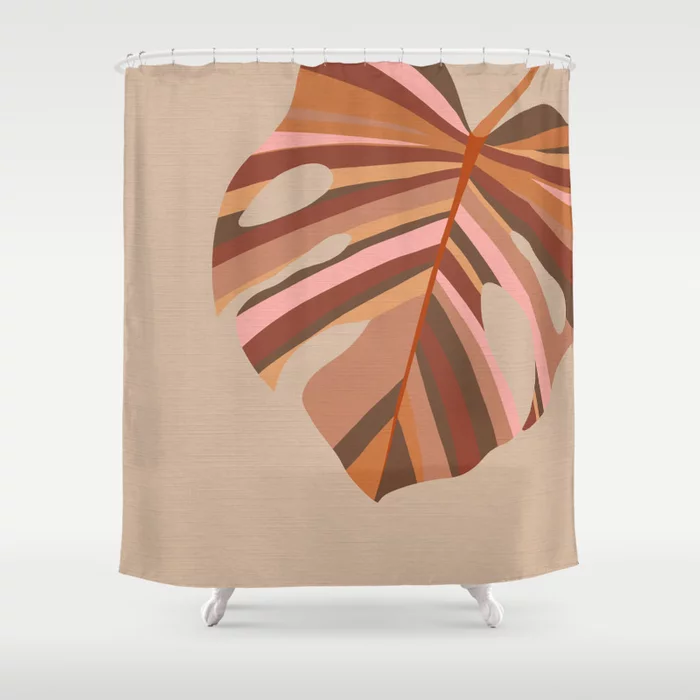 Buy Monstera Leaf Earthy Terracotta Pink Shower Curtain By