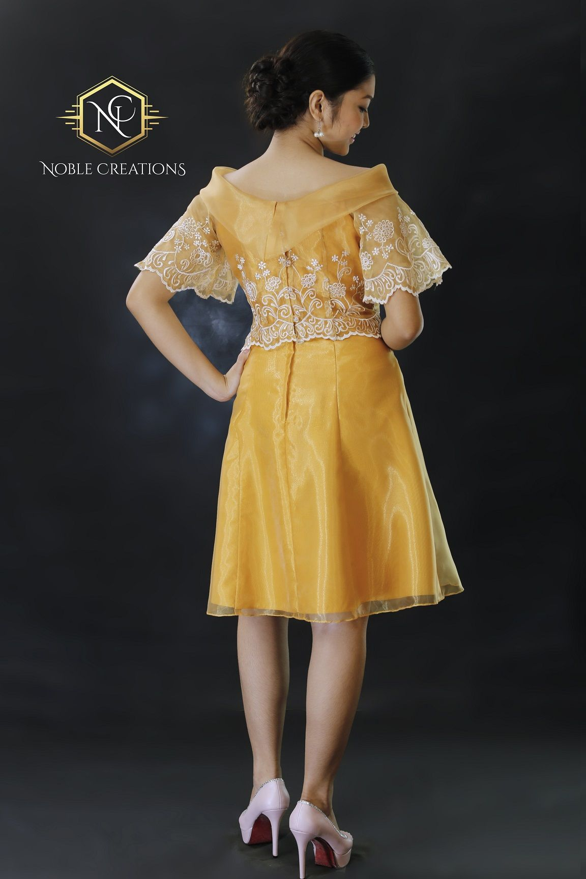 b7a3736b752 Filipiniana Golden Silk Dress.