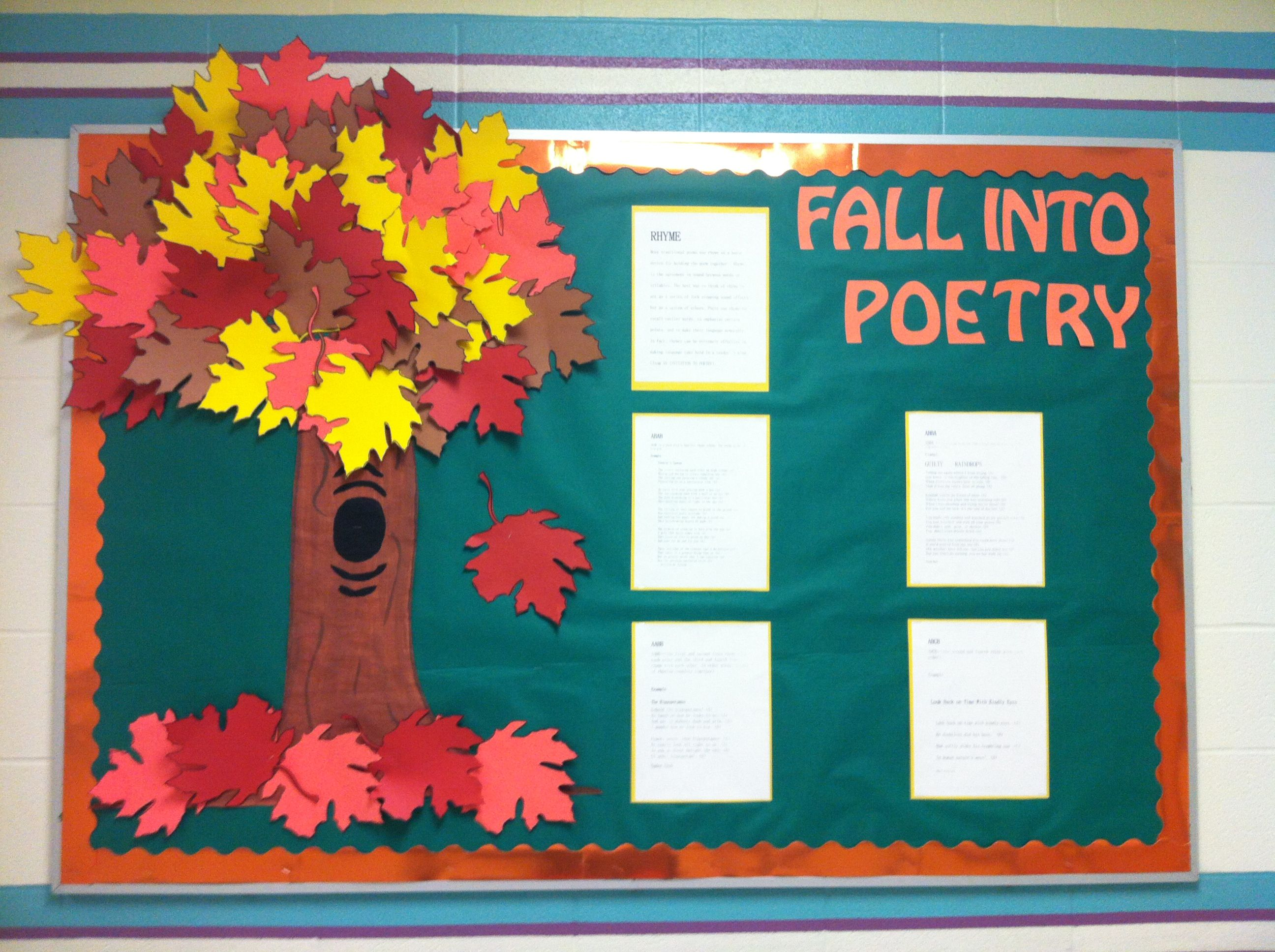 """""""Fall Into Poetry"""" is a nice idea for an autumn bulletin board display.  I would have my students write their fall poems in leaf shaped templates."""