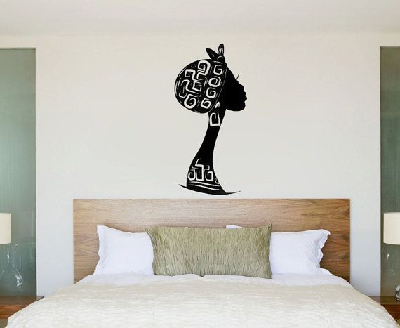 African American Wall Decor african silhouette decal, black woman wall art, headwrap african