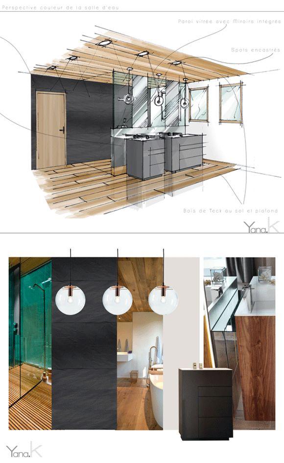 Création d\'une salle d\'eau moderne. Le parquet en teck sur ...
