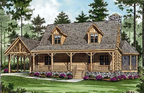 Log Cabin House Plan Id Chp 43041 Coolhouseplans Com Cabin House Plans Country Style House Plans Log Cabin Floor Plans
