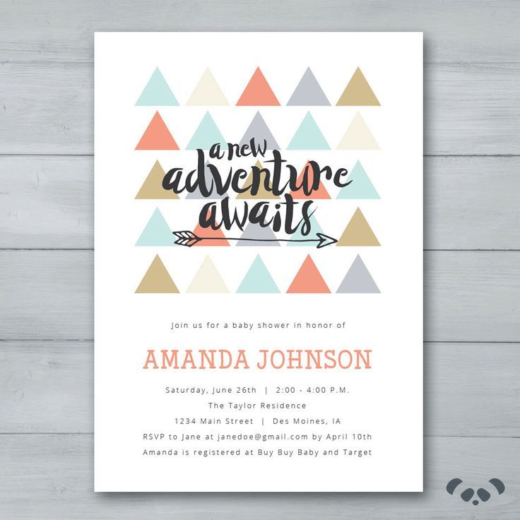 A New Adventure Awaits Baby Shower Invitation  Triangles Arrow