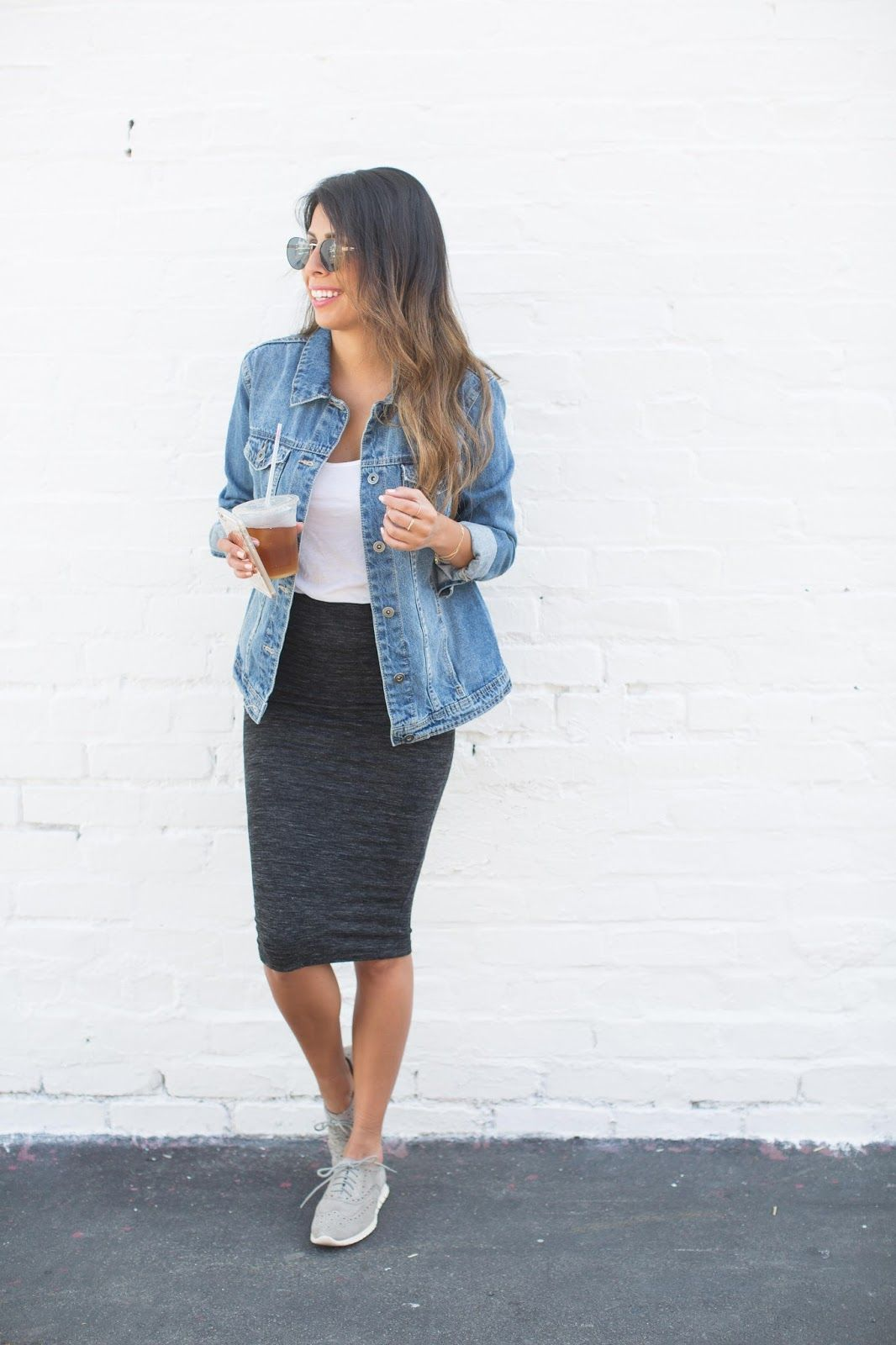 How to wear denim jacket how to wear tennis shoes with skirts casual weekend outfit ideas ...