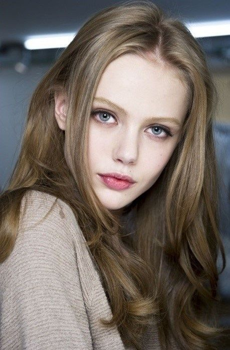 Very light ash brown hair. I love this color with blue eyes.