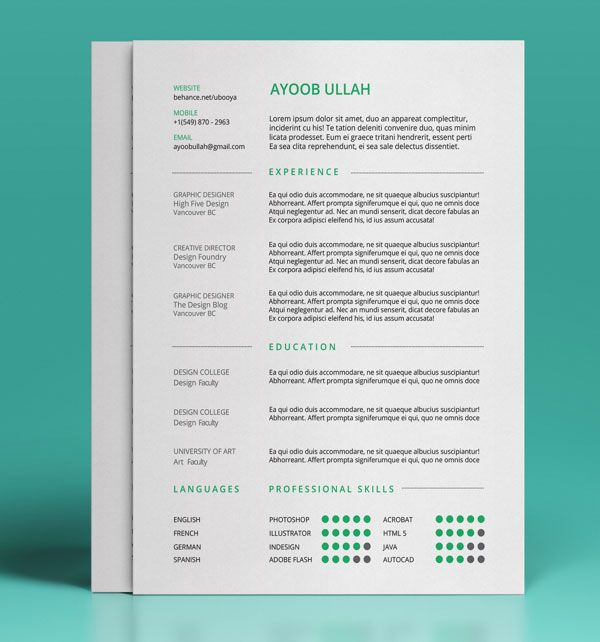 50+ Beautiful Free Resume (CV) Templates in Ai, Indesign \ PSD - formats for a resume