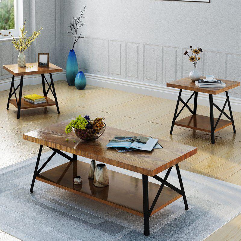 Ellefson 3 Piece Coffee Table Set 3 Piece Coffee Table Set Coffee End Tables End Table Sets