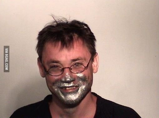 Mugshot from this guy's 48th time being arrested for huffing paint
