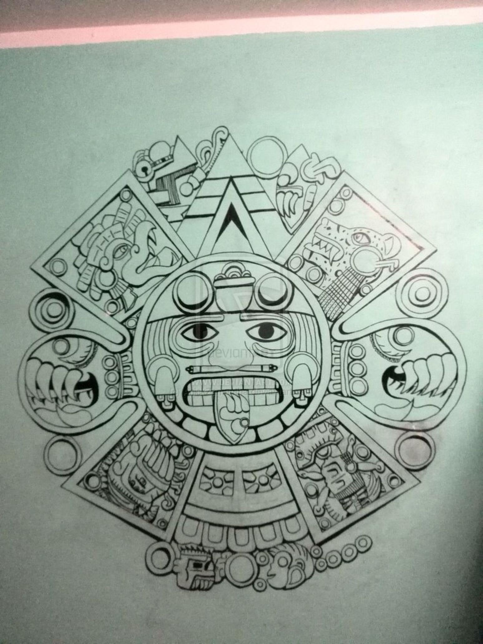 Calendar Drawing Design : Aztec calendar by anickzamantha on deviantart …