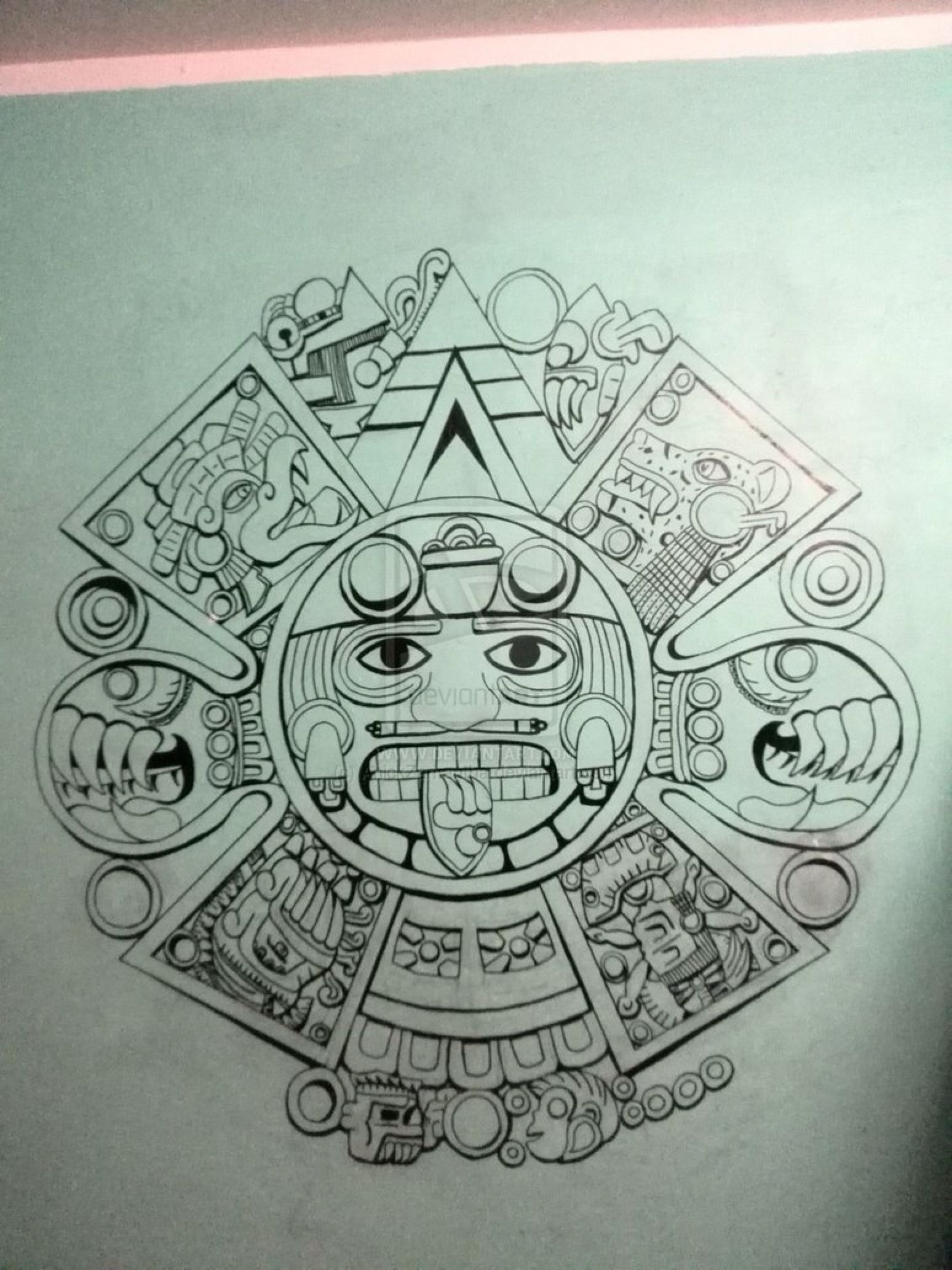 Calendar Drawing Design : Pin by juan soria on aztec tattoo for men pinterest