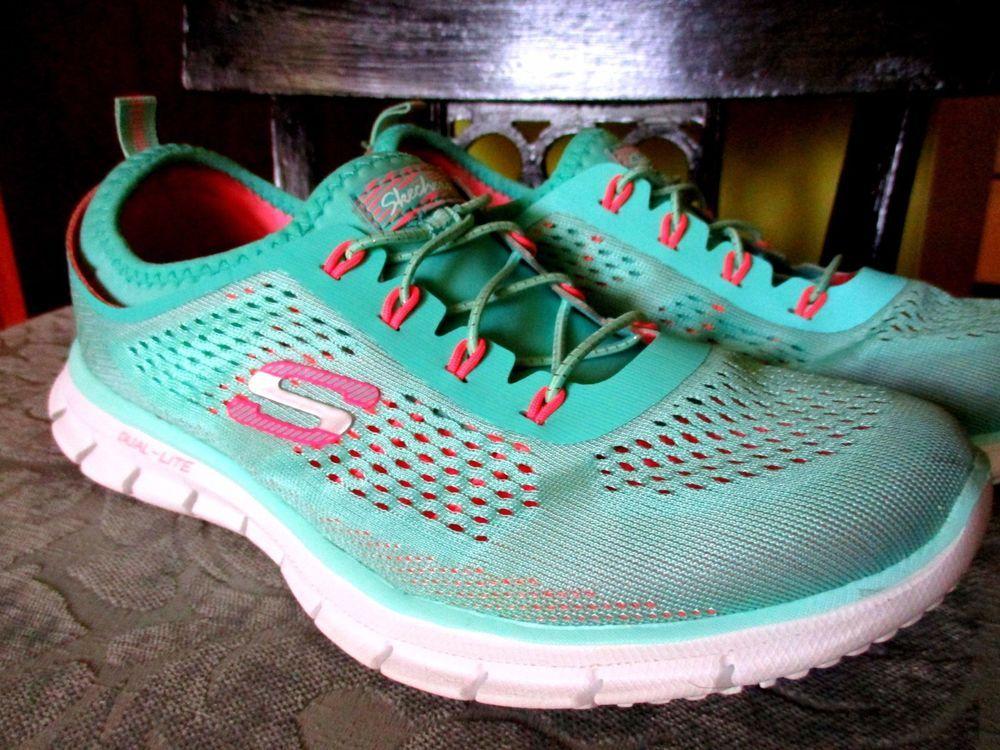 00226d32db6a 7.5 Aqua pink Mesh Sketchers Tennis shoes Flex Sole memory foam air cool   Skechers