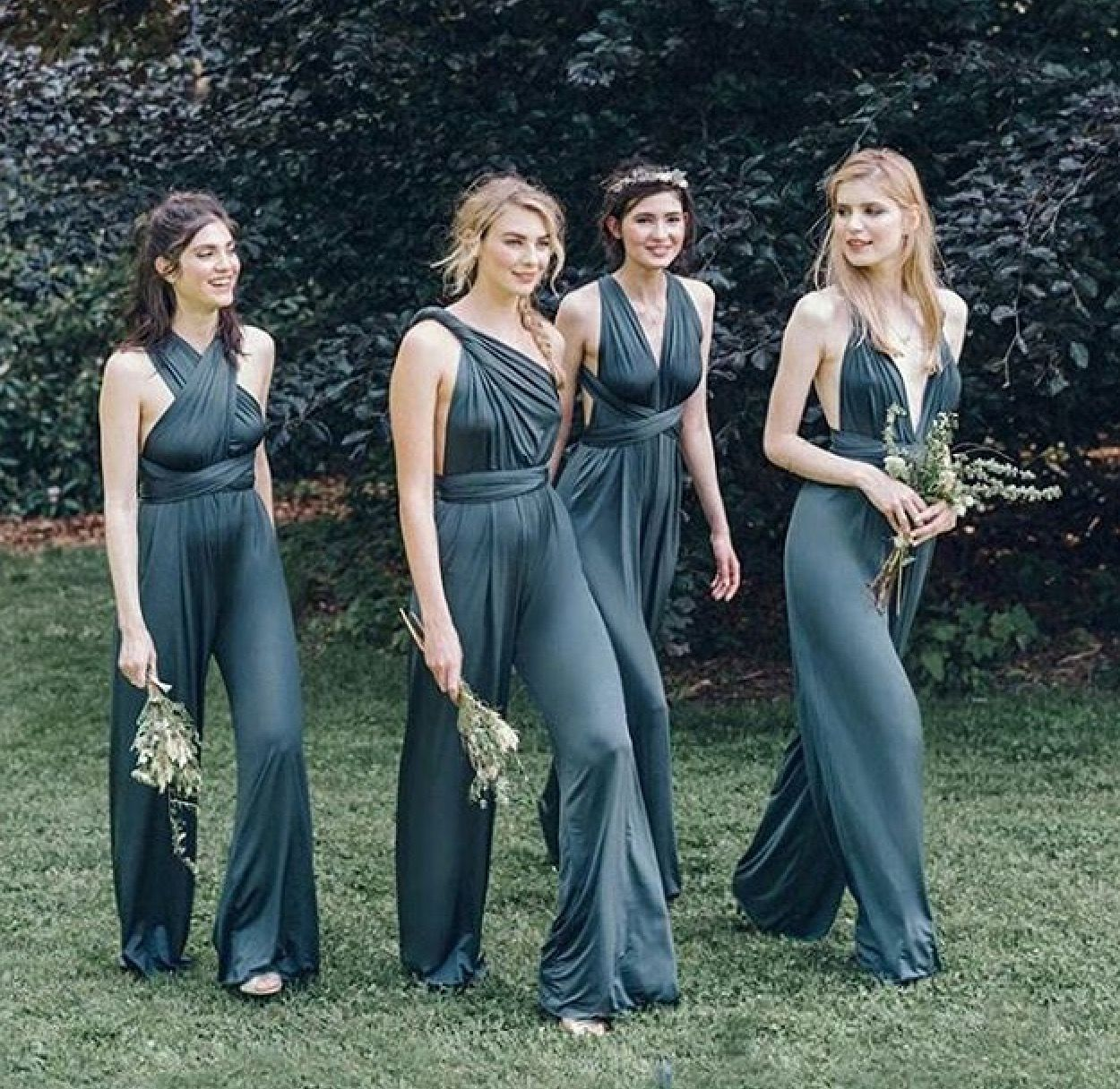What Colours Not To Wear To A Wedding: Bridesmaids Jumpsuits. Not A Big Fan Of The Matchy Matchy