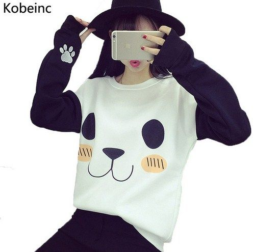Women Hoodies Fashion Cartoon Panda Sweatshirts