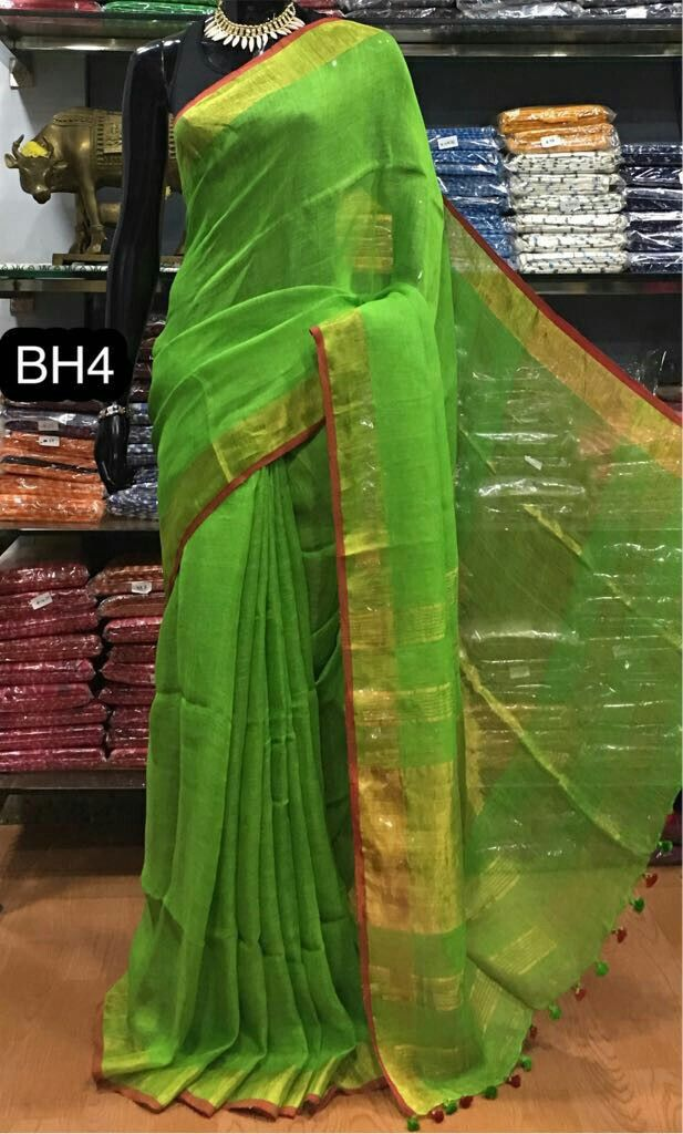 2e52d38b1e498 Pure linen sarees with contrast blouse Saree + blouse 6.5 Meters Rs 2700+   Order what s app 7093235052