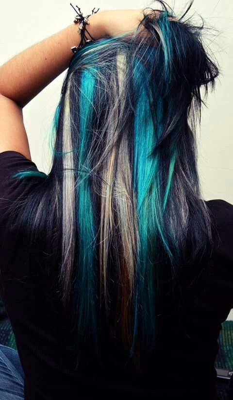 Black With Platinum And Aqua Streaks Peekaboo Hair Peekaboo Hair Colors Hair Styles