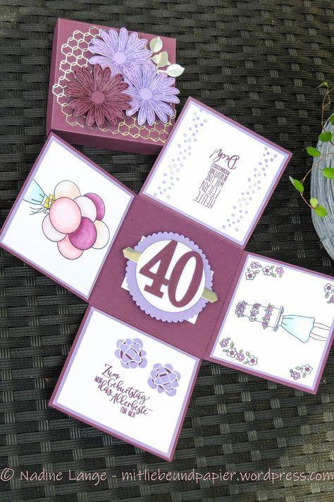 Eine Explosionsbox zum 40. Geburtstag (Stampin' Up! Gänseblümchengruß)