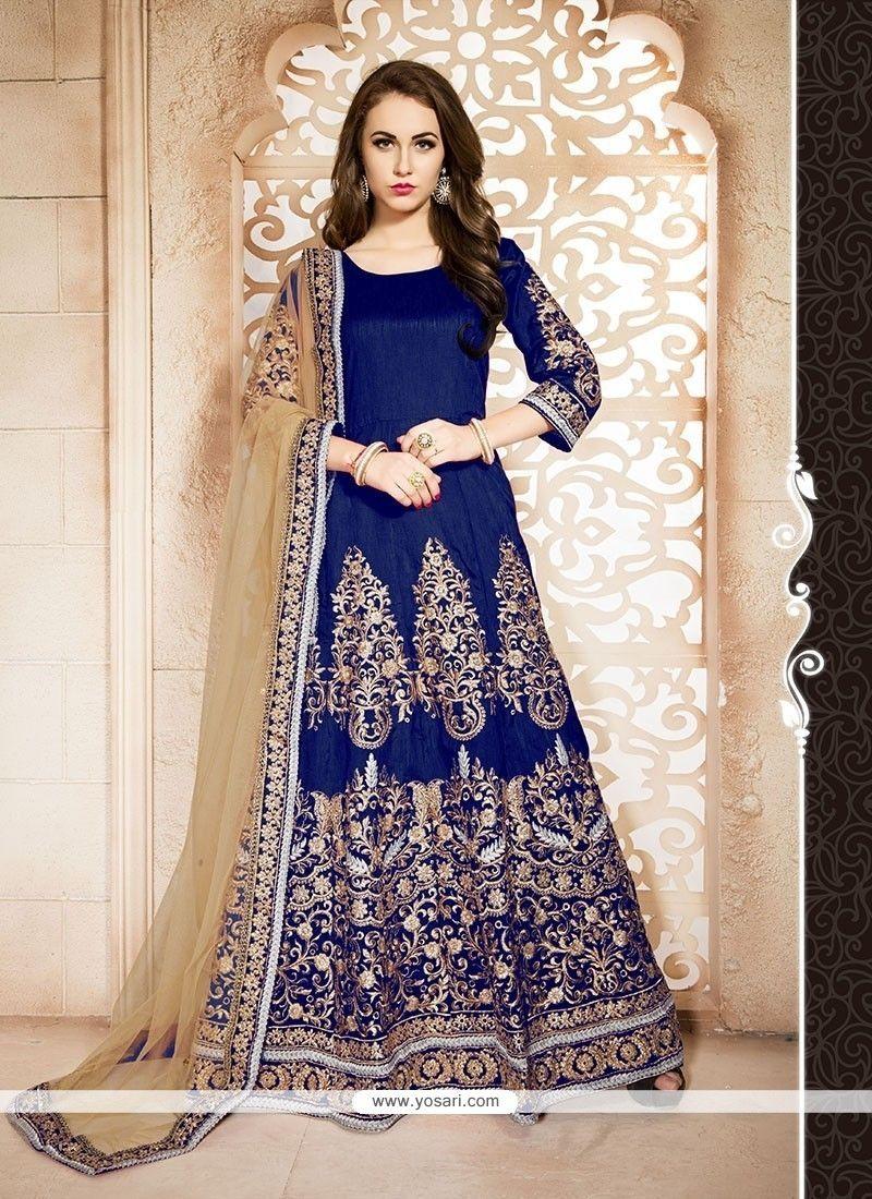 Lovable Banglori Silk Blue Resham Work Designer Floor Length Suit Model: YOS7104