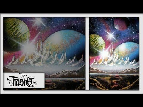 Spray Paint Art - Cosmic Scene - by: Trasher - YouTube
