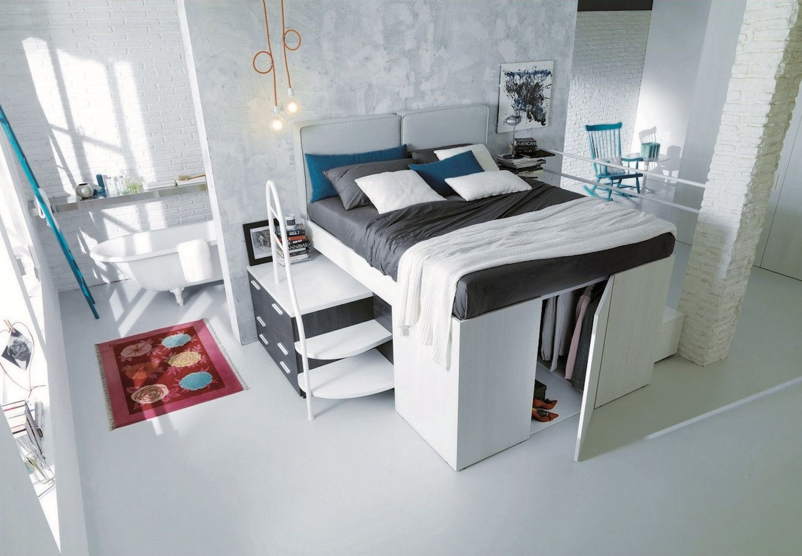 Smart spacesaving bed hides a walkin closet underneath Space