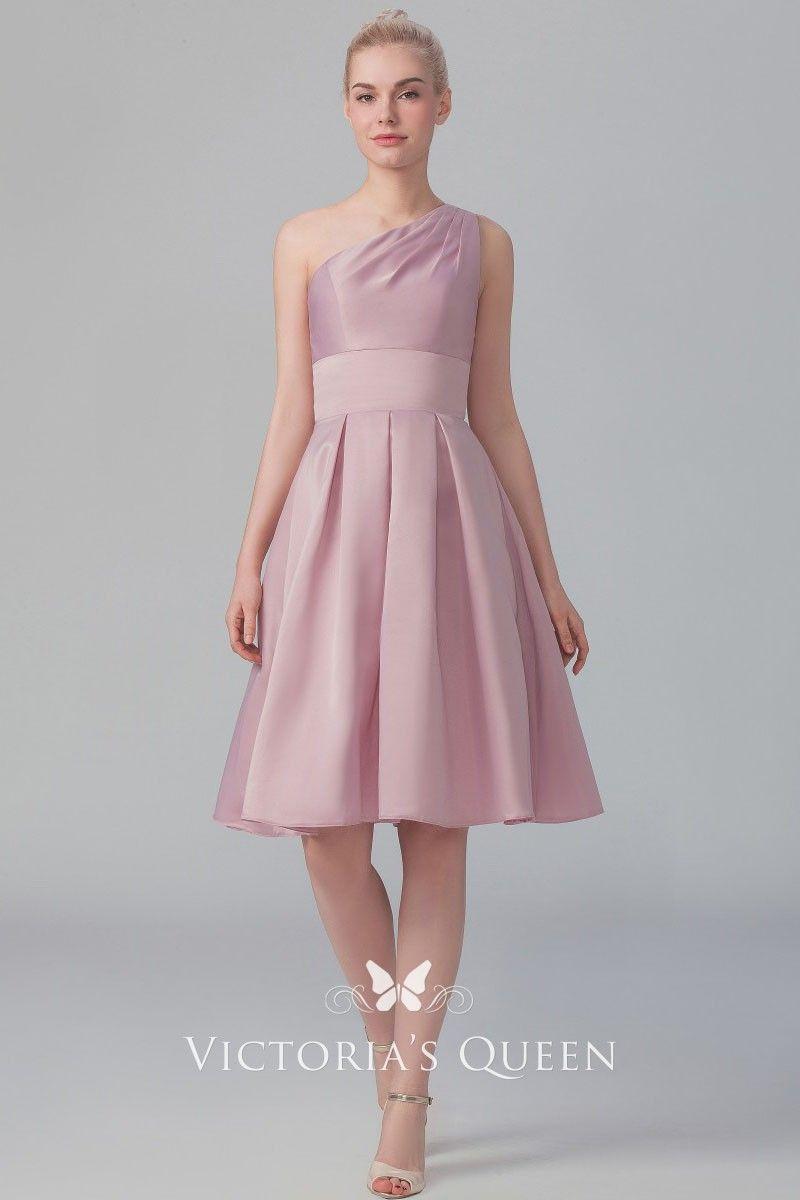 da929320bbf Rose satin Grecian style short bridesmaid dress. Asymmetrical one shoulder  neckline