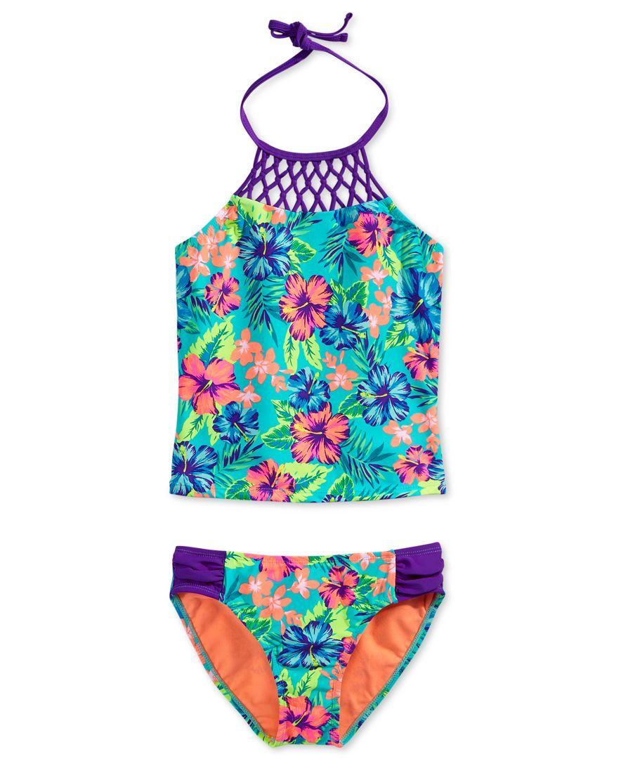c84bdff99a Breaking Waves 2-Pc. Hawaiian Dream Bikini Swimsuit, Big Girls (7-16 ...