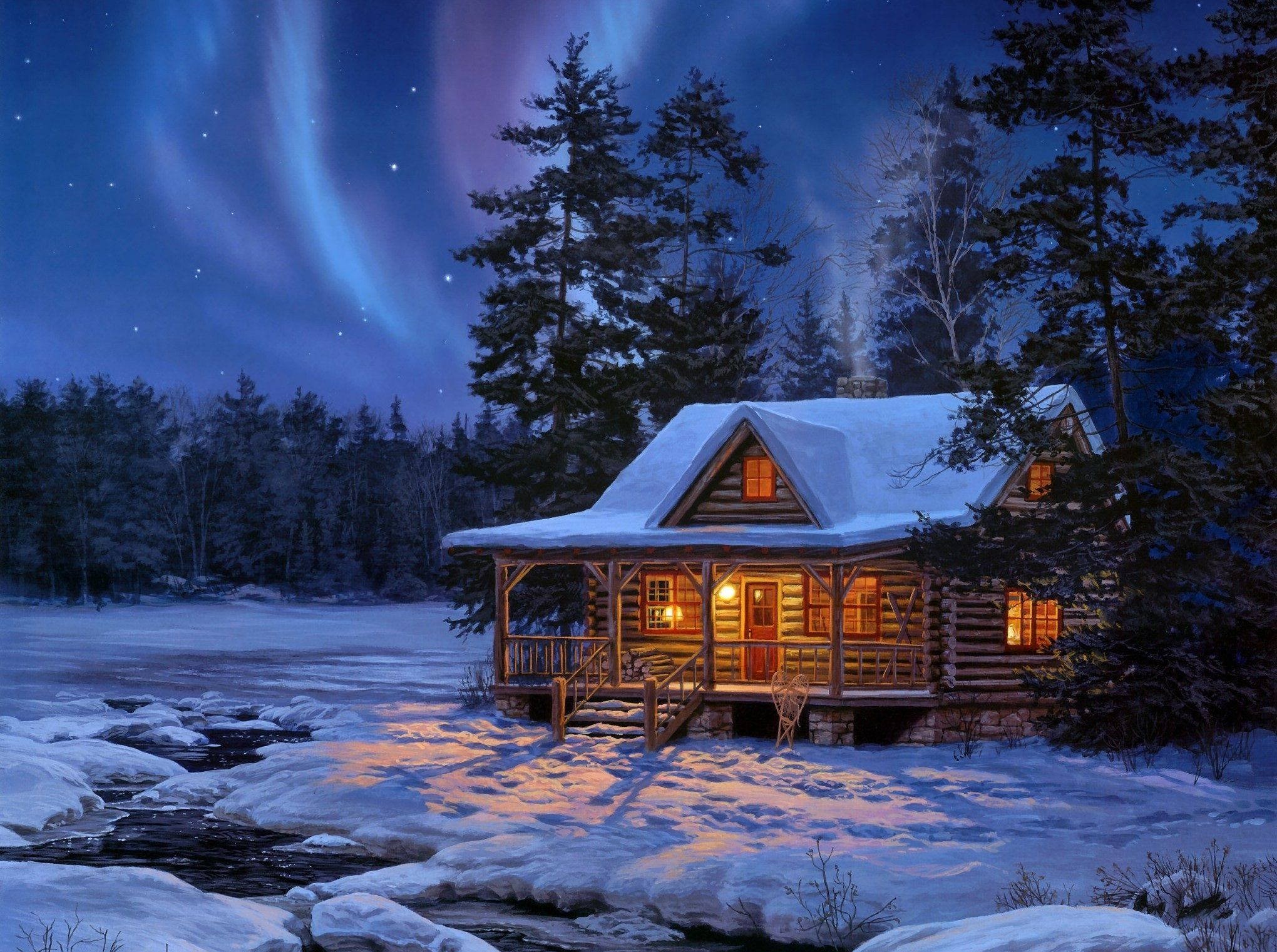 Hd A Small Cottage In The Snowy Woods Wallpaper Download