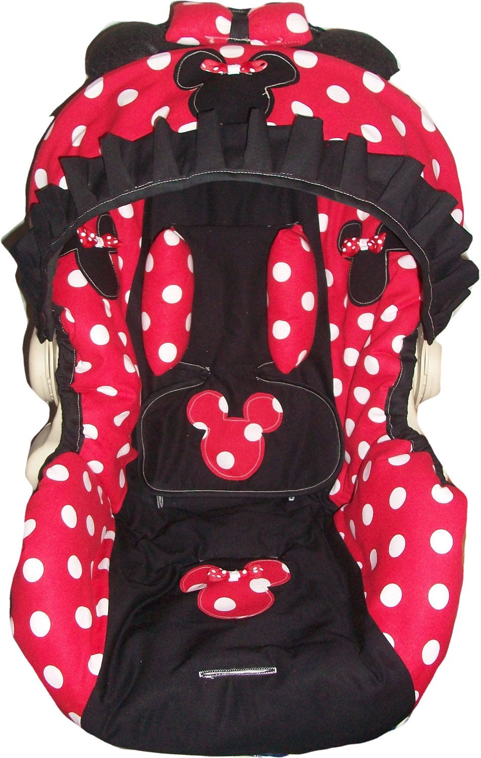 red and white polka dot minnie mouse infant car seat cover any model via etsy omg i. Black Bedroom Furniture Sets. Home Design Ideas