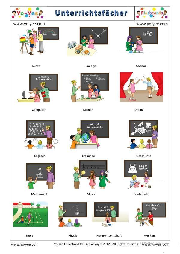 Yo-Yee Unterrichtsfächer - Signalkarten / Bildwörterbuch ...