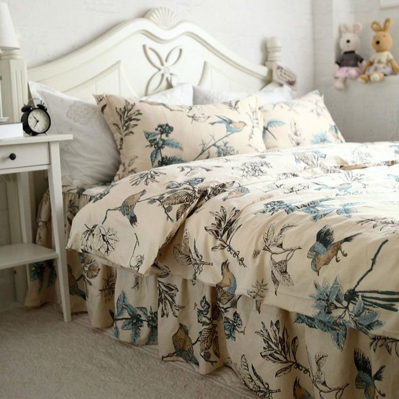 New European Flower Bird Print Bedding Set Past Duvet Cover Wrinkle Bedspread Embroidery Lace Pillowcase