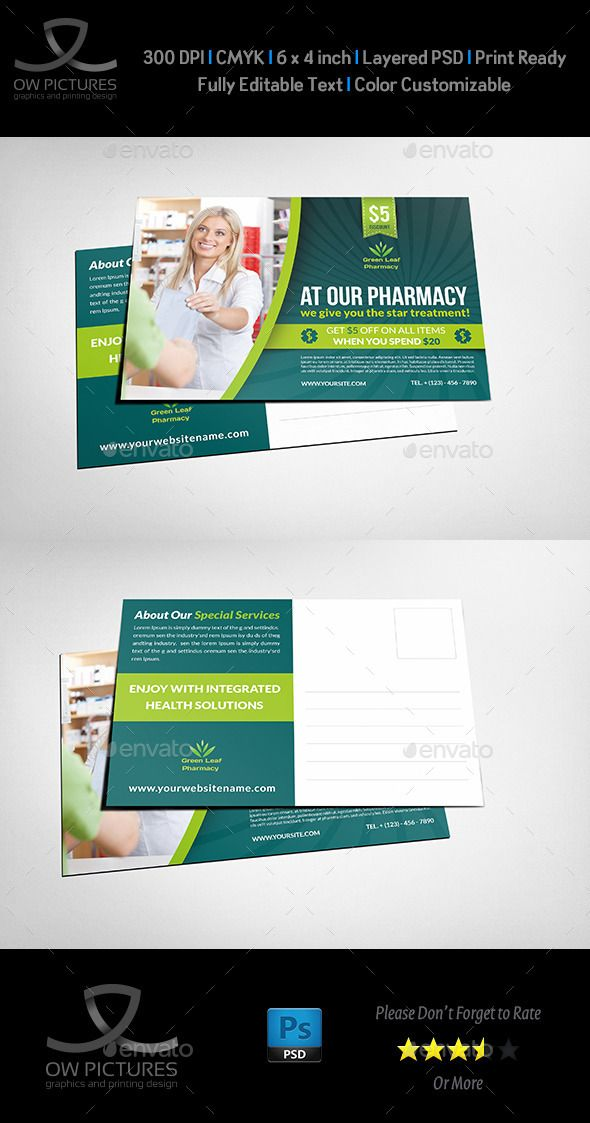 Pharmacy Postcard Template Vol.2