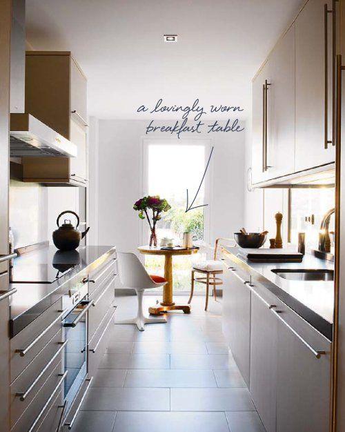 Galley Kitchen With Breakfast Bar narrow kitchen with table | kitchen | pinterest | galley kitchen