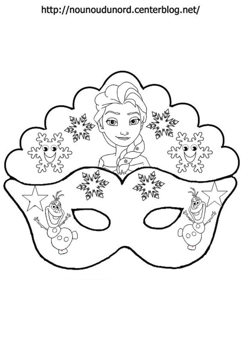 masque reine des neiges pour colorier jpg - Coloriage Reine Des Neiges Olaf