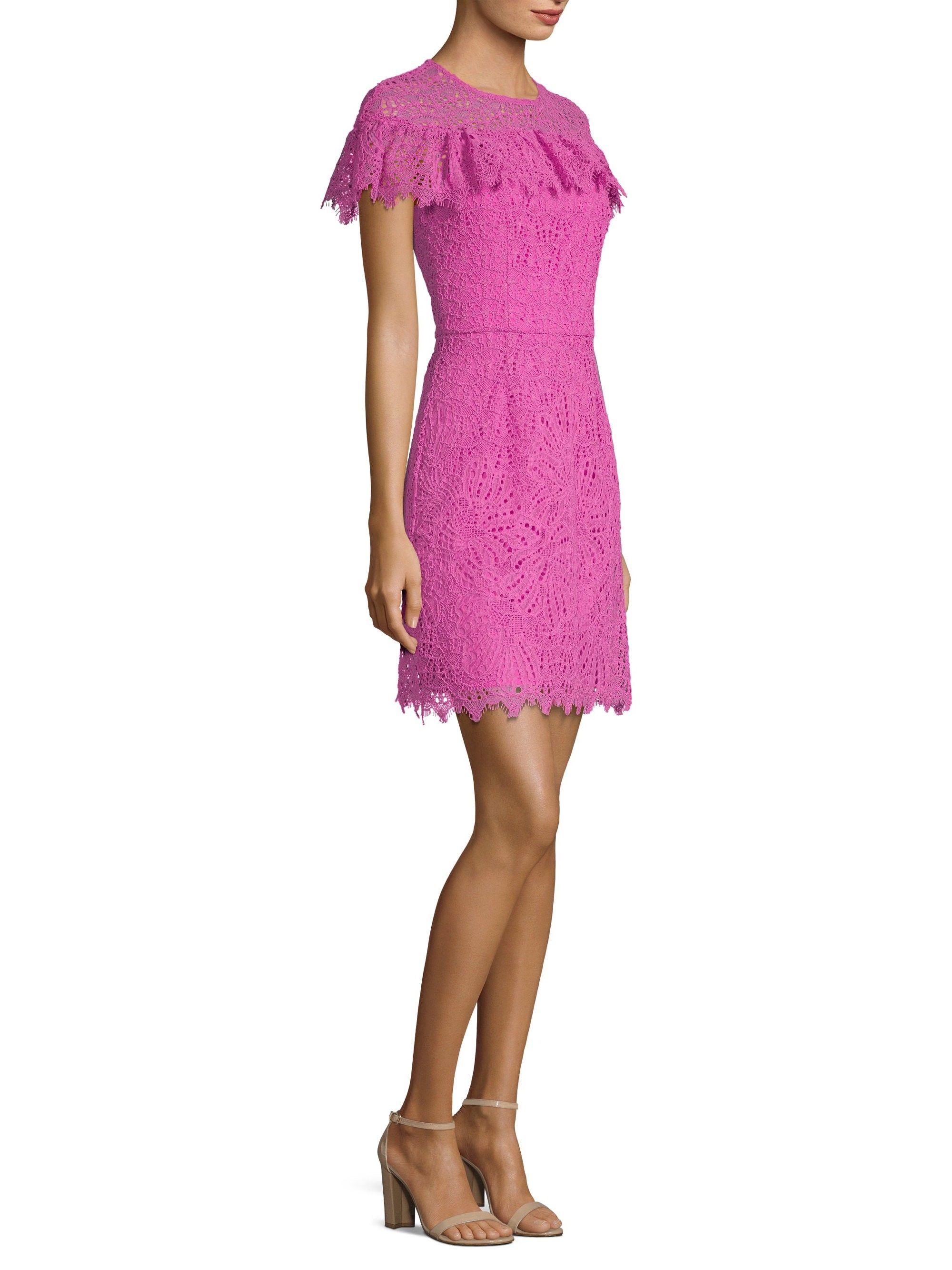 Trina Turk Copper Ruffle Dress Plum Rose 10