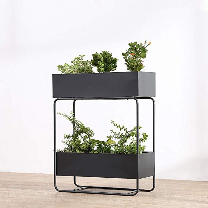 Amazon Com D Le Nordic Metal Plant Stand Rack Creative 2 Tier Rectangle Flower Pot Stand Rack Indoor Outdoor Decora Metal Plant Stand Plant Stand Patio Garden