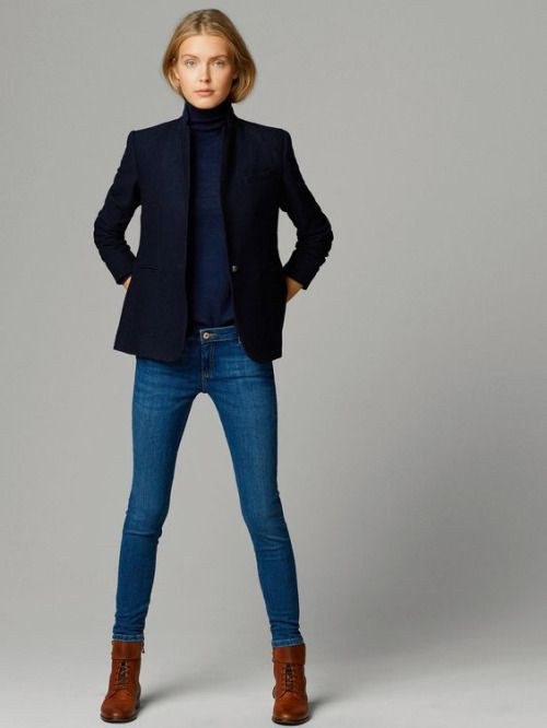 navy and denim Skinny Jeans Boots, Black Blazer Jeans, Turtleneck And Blazer,  Blue 11b78a3445