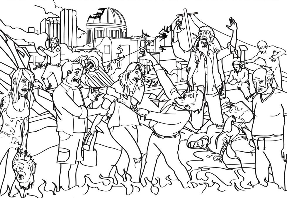Zombie Apocalypse Colouring In Page Adult Coloring Book Pages