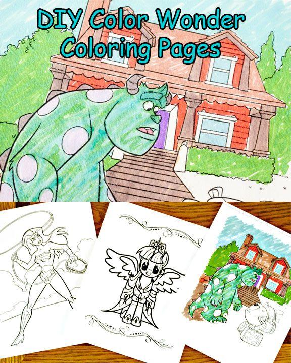 scribbles dabbles diy color wonder coloring pages - Color Wonder Coloring Books