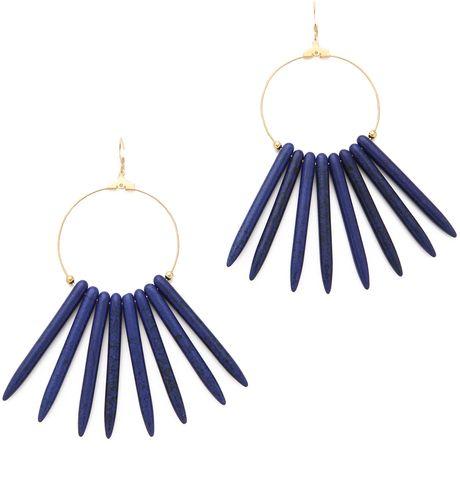 Kenneth Jay Lane Blue Gold Hoop Sticks Earrings