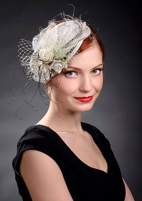 White vintage wedding fascinator hat by Marge Iilane in Etsy be5f0988a45