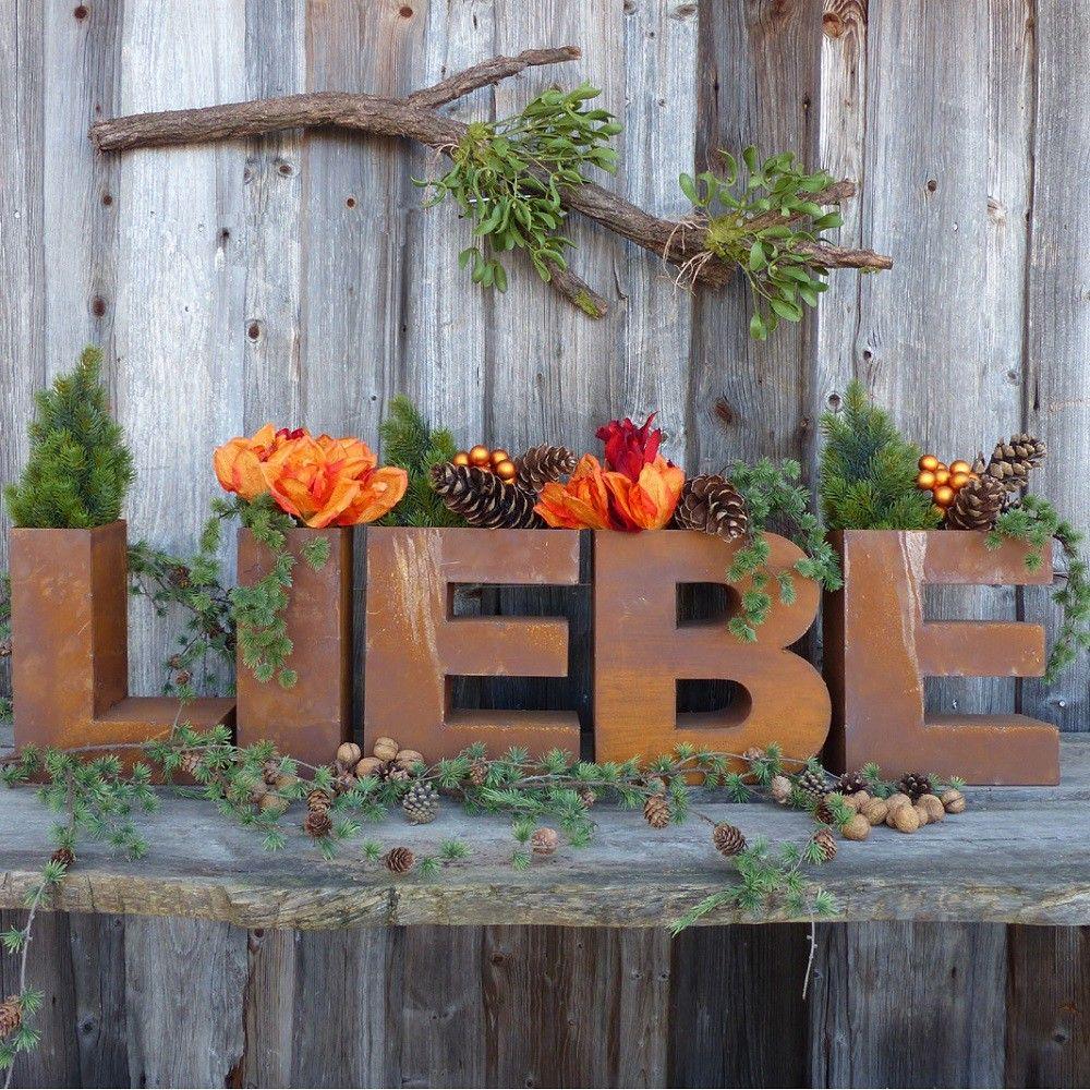 Schriftzug liebe aus edelrost zum bepflanzen rust for Gartendekoration aus rost