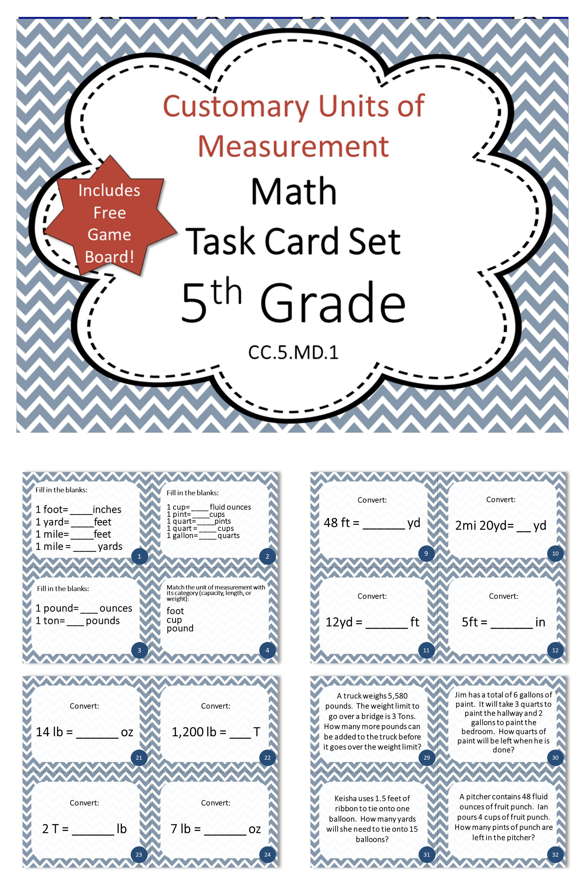 5th Grade Customary Units Of Measurement Math Task Cards