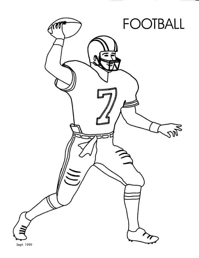 Coloring Pages Football Player Boys Birthday Ideas Pinterest